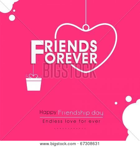 Stylish text Friends Forever with hanging heart and gift box on pink background for Happy Friendship Day celebrations.