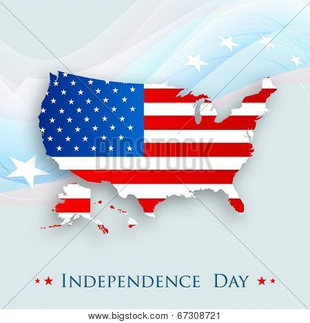 Map of united states on america on stars decorated waves background for American Independence Day celebrations.