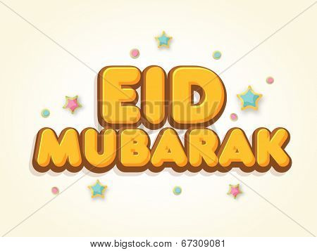 Stylish golden text Eid Mubarak on stars decorated background for Muslim community festival Eid Mubarak celebrations.