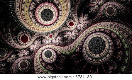 Colorful Fractal Clockwork, Abstract Gears Digital Artwork
