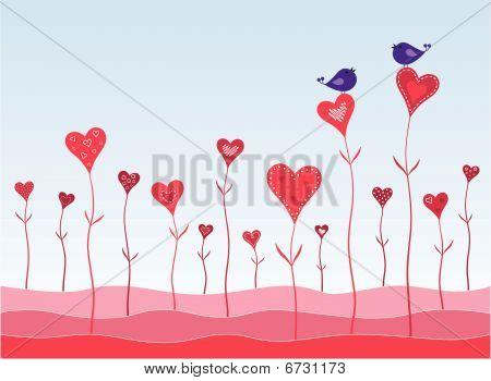 Birds in a hearts garden