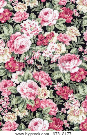 Rose Fabric Background, Fragment Of Colorful Retro Tapestry Textile Pattern With Floral Ornament Use