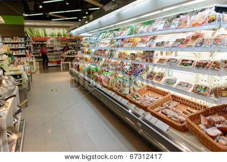 SHENZHEN, CHINA-APRIL 13: food market in ShenZhen on April 13, 2014 in Shenzhen, China. ShenZhen is regarded as one of the most successful Special Economic Zones.