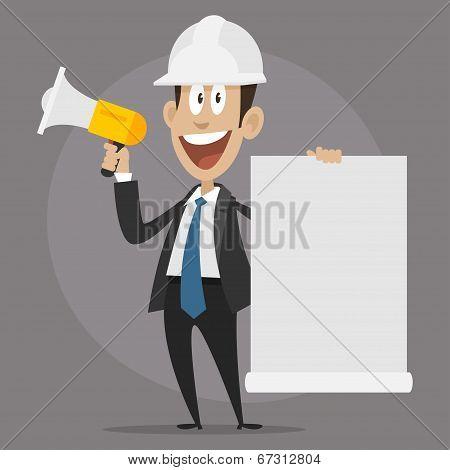Character builder happy speaks in megaphone