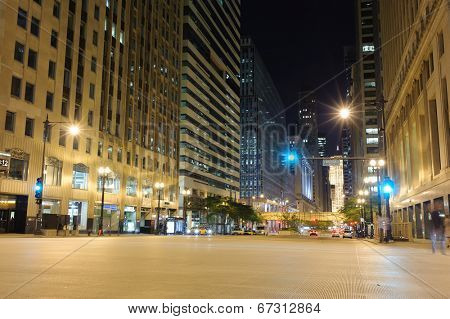 CHICAGO, IL - OCT 5: Chicago downtown at night on October 5, 2011 in Chicago, Illinois. Chicago is the third most populous city in the United States, after New York City and Los Angeles