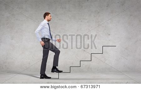 business and education concept - serious businessman stepping on step