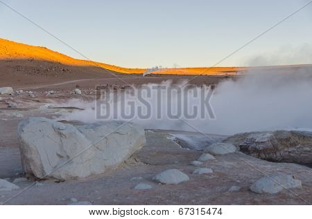 Sol de Manana (Morning Sun) geysers at dawn, Sur Lípez Province, Bolivia