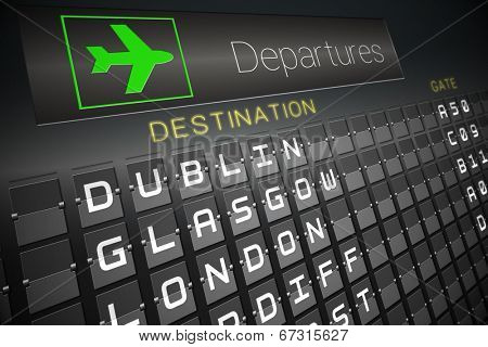Digitally generated black departures board for cities