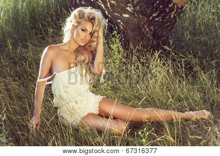 Sensual Blonde Lady Posing
