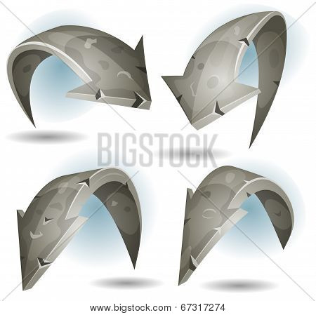 Cartoon Stone Arrows Signs Set