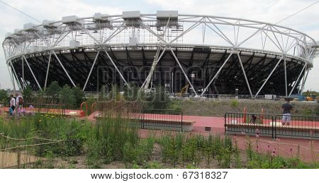 LONDON- 24 JUNE: West ham united football clubs new ground nears completion, in the 2012 olympic stadium at stratford, which they take over in 2015. LONDON, 24 JUNE, 2014
