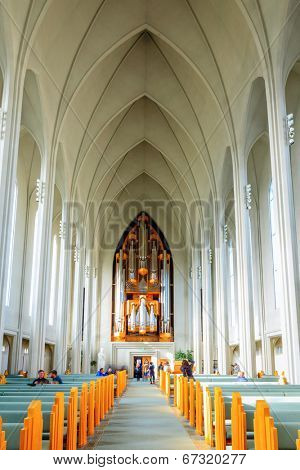REYKJAVIK, ICELAND - AUGUST 31, 2013: Interior of Hallgrimskirkja church in the heart of Reykjavik, Iceland. This is the largest church in Iceland