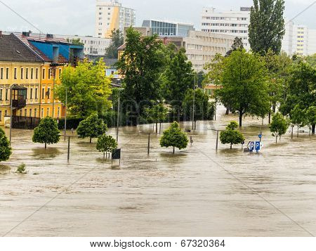flood of 2013. linz, austria. inundation and flooding.