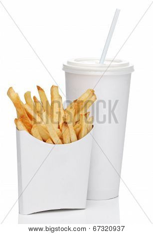 French fries and soda isolated on white