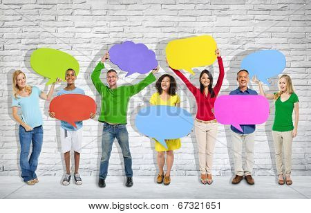 Group of mixed age and race people with colorful thoughts.