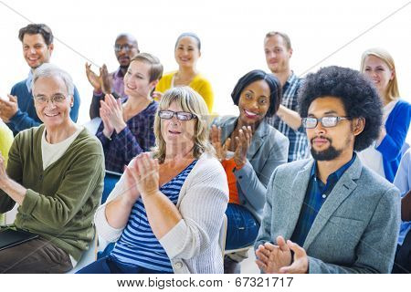 Group of Cheerful People Clapping with Gladness