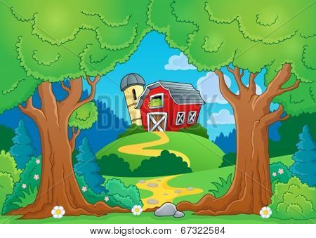 Tree theme with farm 1 - eps10 vector illustration.