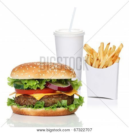 Hamburger with french fries and a cola drink isolated