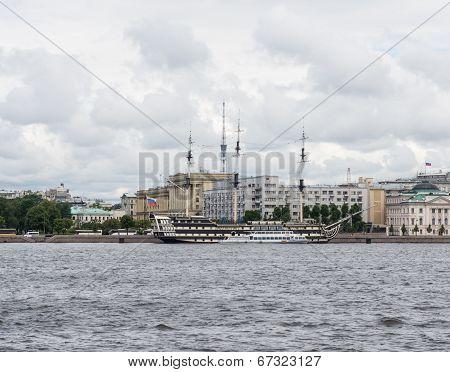 St. Petersburg. Old Sailing Ship Moored At The Neva River