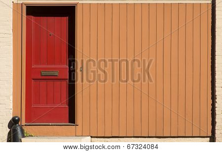 Red Door - Orange Wall