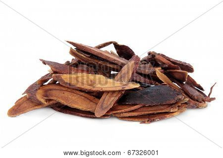 Liquorice root honey baked used in chinese herbal medicine over white background. Zhi gan cao.