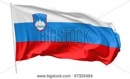 Flag Of Slovenia On Flagpole
