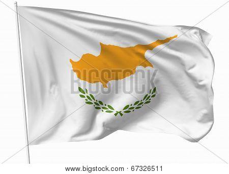 Flag Of Cyprus On Flagpole