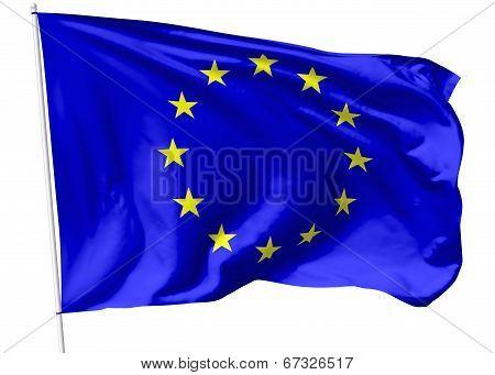 Flag Of Europe On Flagpole