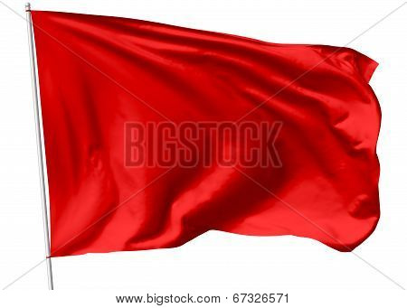 Red Flag On Flagpole