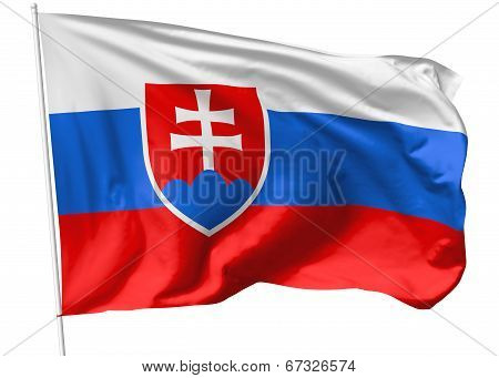Flag Of Slovakia On Flagpole