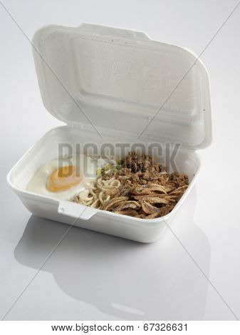 noodle in the styrofoam lunch box