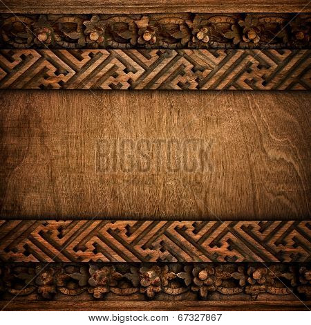 wood background with carving pattern