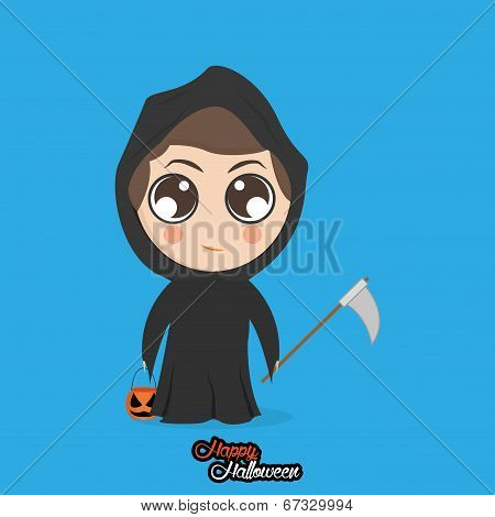 Vector Boy With Reaper Halloween Costume Isolated