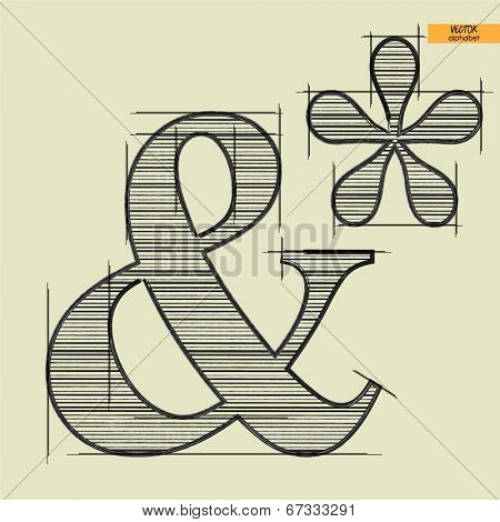 art simple alphabet in vector, classical black handmade font, ampersand mark and asterisk