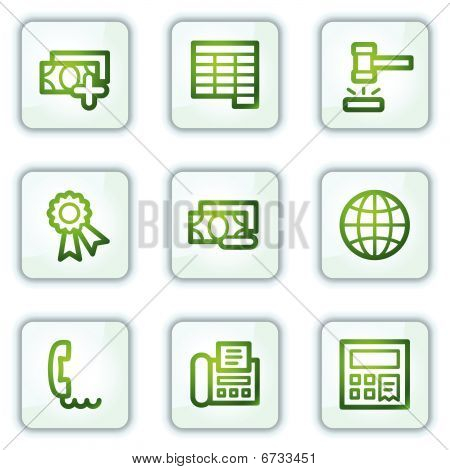 Finance web icons set 2, white square buttons series