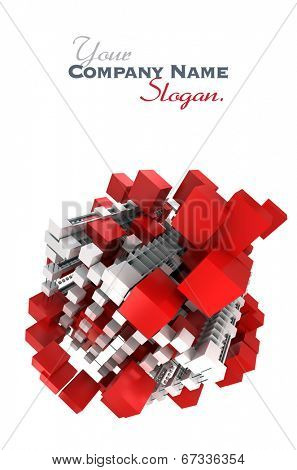 Abstract cubic structure built with red and white shapes