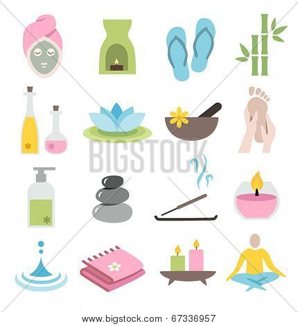 Collection of icons representing wellness, relaxation and spa - flat design