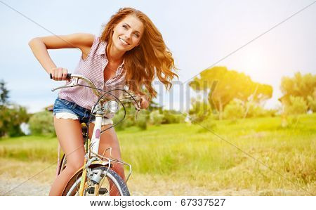vacation in Italy. Girl on bike