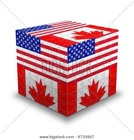 Usa & Canada Flags Puzzle Box