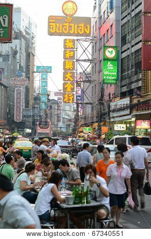 Bangkok, Thailand - March 26: Yaowarat Road, The Main Street In Chinatown