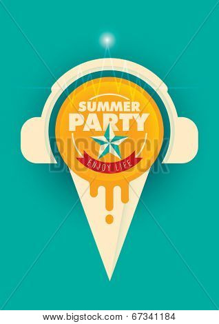 Summer party poster with ice cream. Vector illustration.