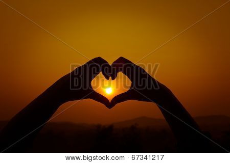 Silhouettes Hand Heart Shaped