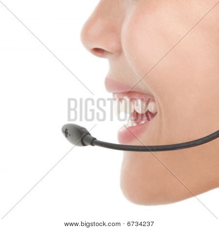 Headset Woman Closeup