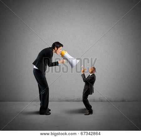 Businesswoman Shouting Through A Megaphone