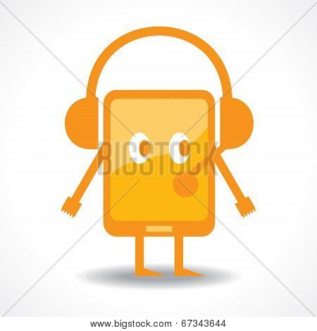 Hearing music with tablet stock vector