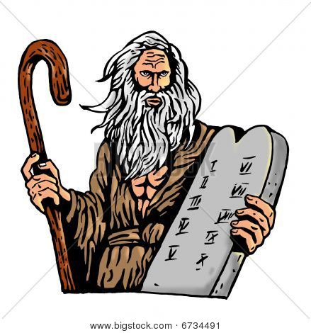 Moses Carrying The Ten Commandments on stone tablet