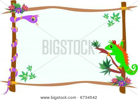 Frame of Chameleon and Snake on Branches