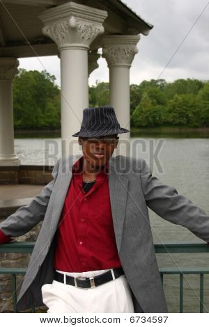 Man In Front Of Lake, Vertical