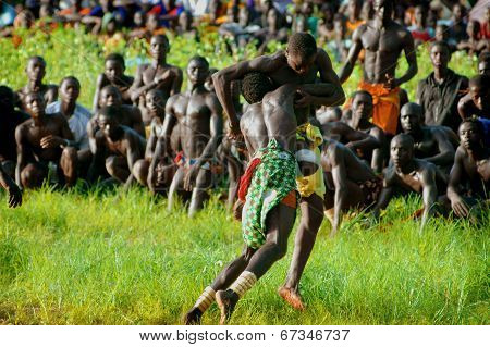 SENEGAL - SEPTEMBER 19: Men in the traditional struggle (wrestle) of Senegal, September 19, 2007 in