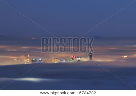Downtown Vancouver In A Foggy Night
